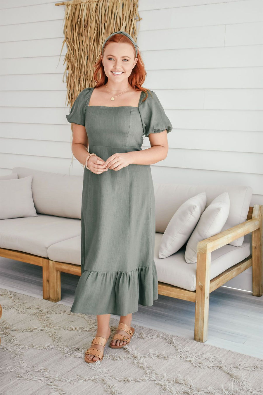 Mia Linen Maxi | Khaki - Gray Label Dress Gray.Label