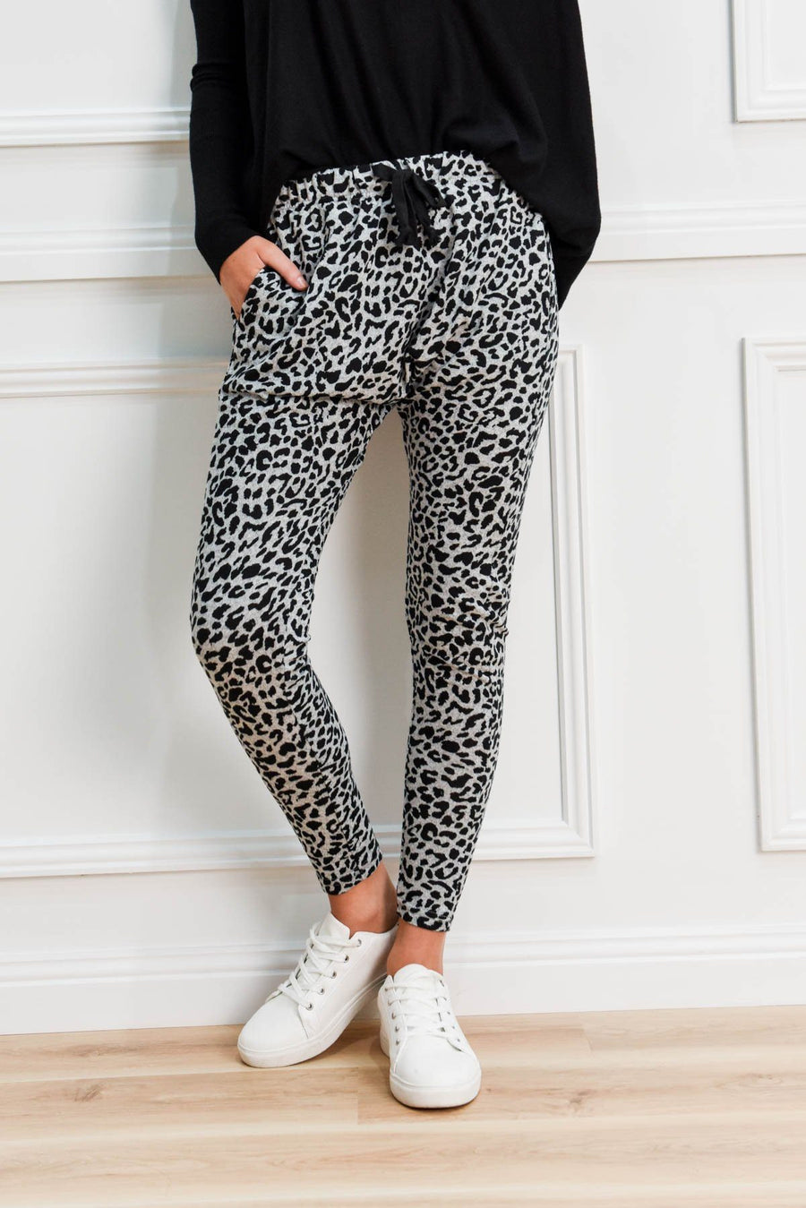 Miley Joggers | Grey Leopard Pants Gray Label