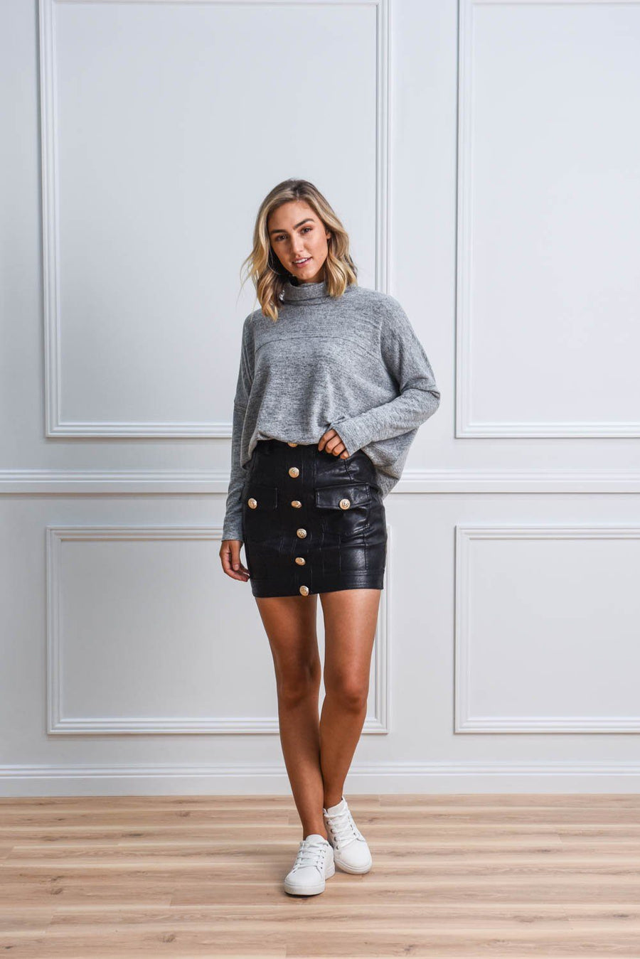 Nadia Vegan Leather Skirt Skirt Gray Label