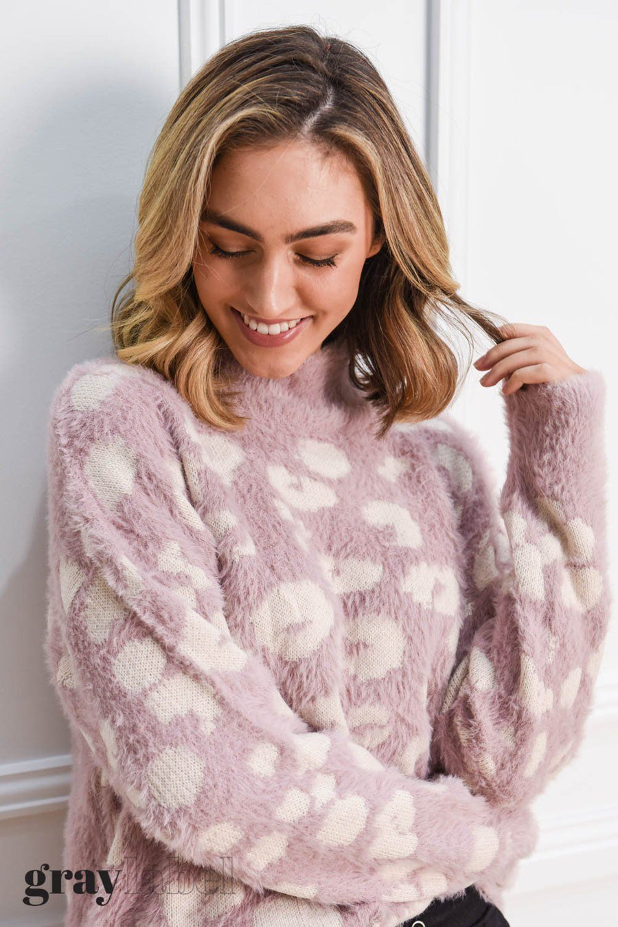 Noah Fluffy Leopard Knit | Blush Pink Top Gray Label