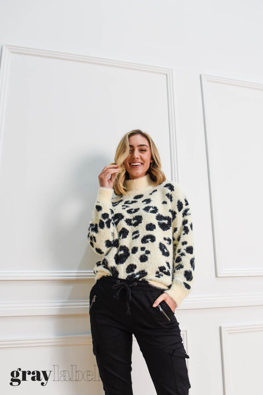 Noah Fluffy Leopard Knit | Ivory Top Gray Label