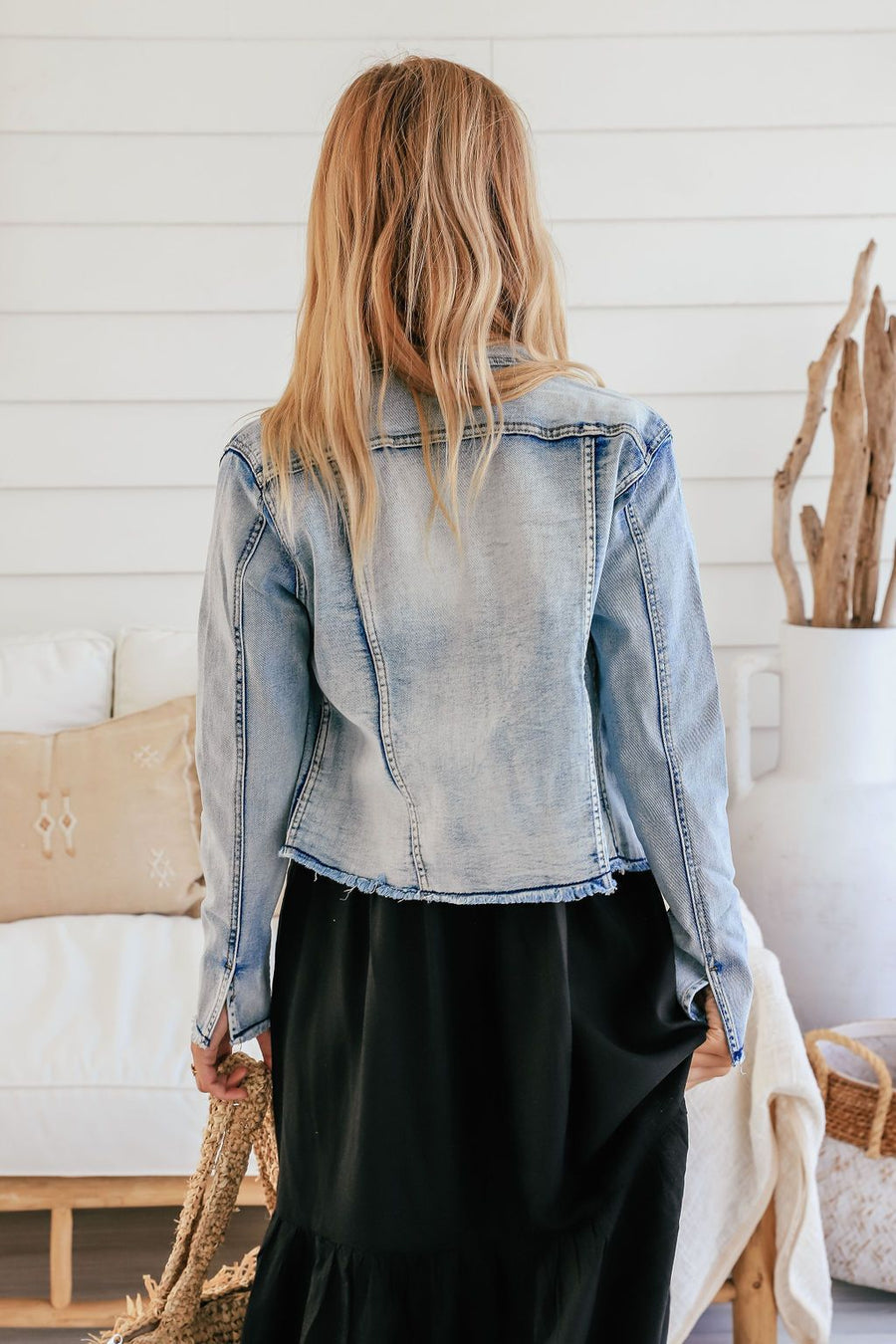 Olivia Frayed Denim Jacket Jacket Gray Label