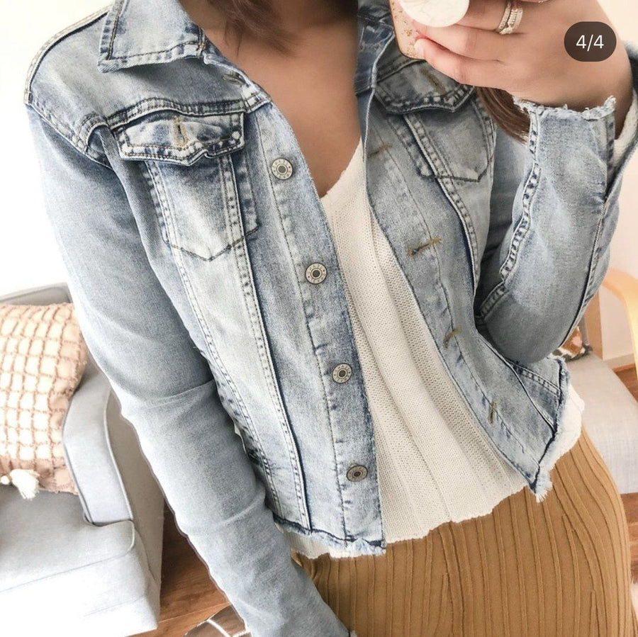 Olivia Frayed Denimn Jacket Jacket Gray Label