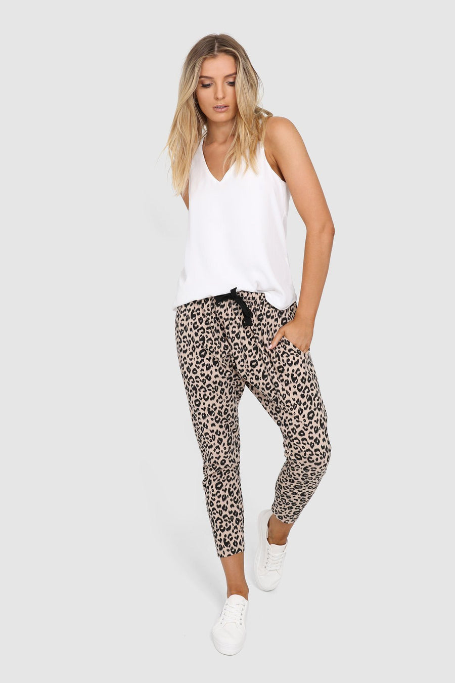 Olivia Slouch Pants | Nude Leopard Pants Gray Label