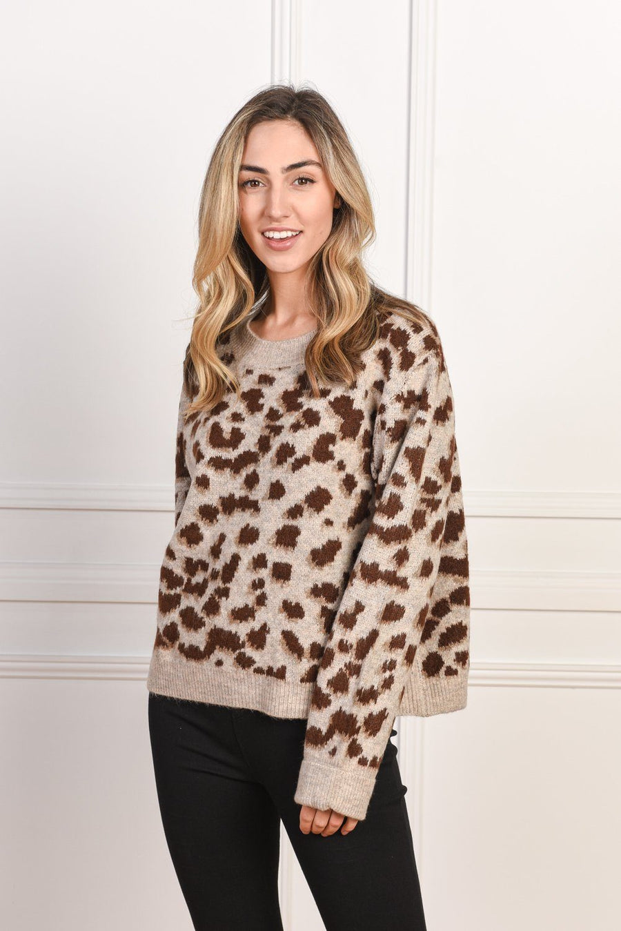 Olivia Sweater | Brown Leopard Knit Gray Label