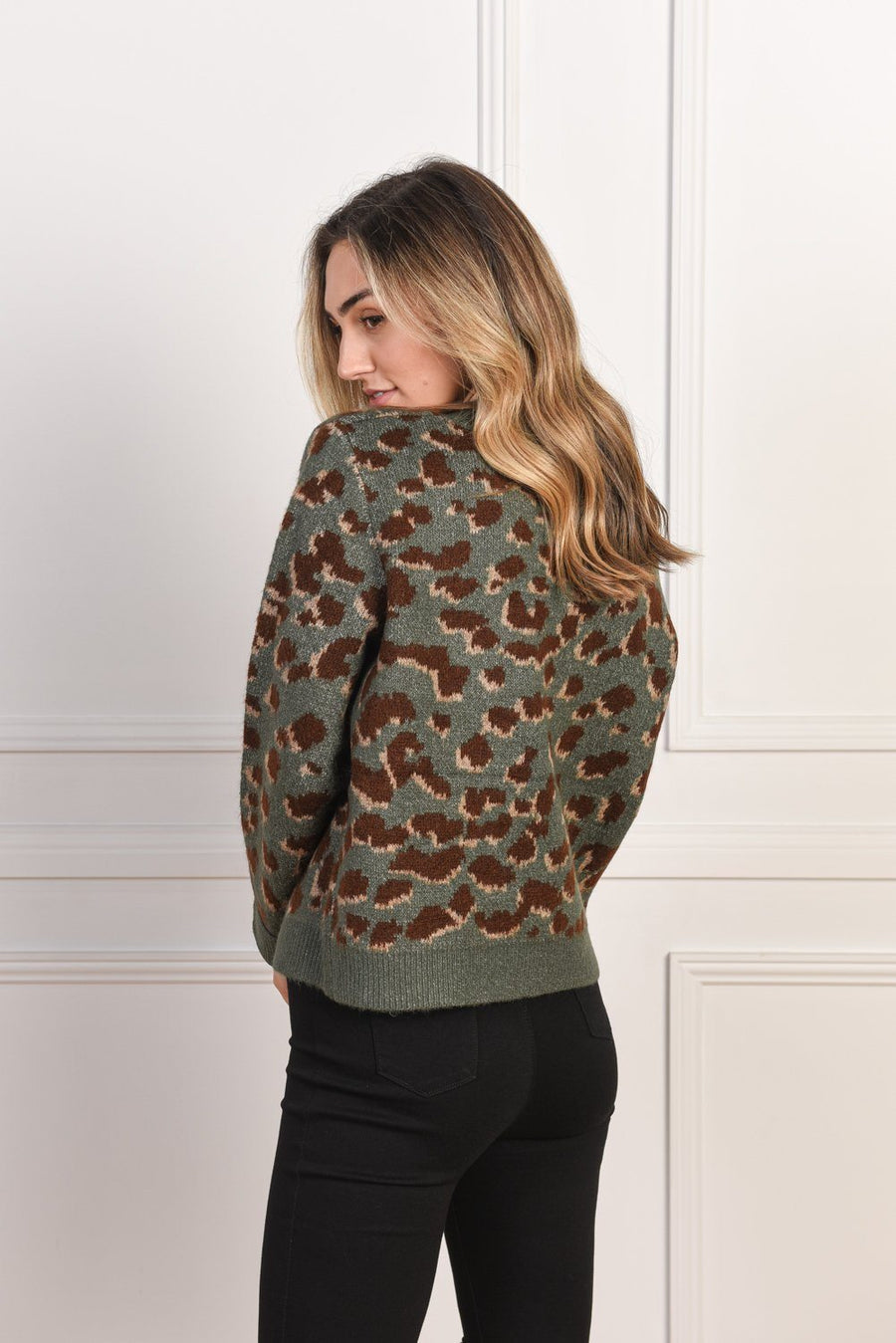 Olivia Sweater | Green Leopard Knit Gray Label
