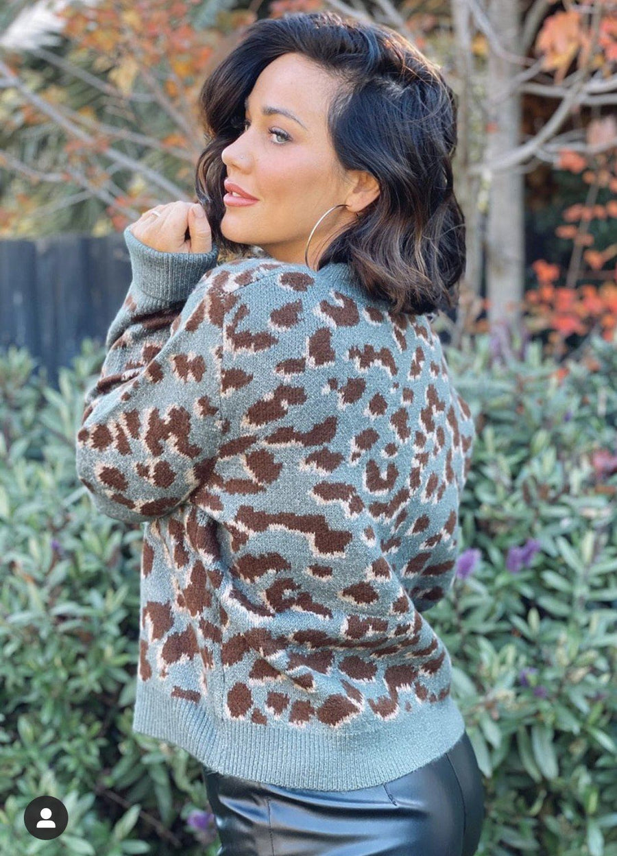 Olivia Sweater | Khaki Leopard Knit Gray Label