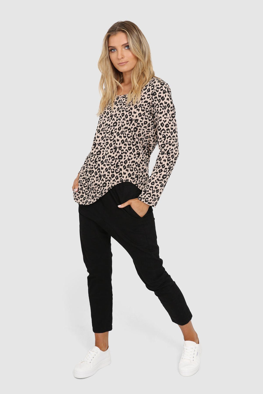 Olivia Top | Nude Leopard Top Gray Label