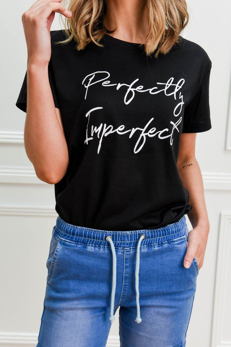 Perfectly Imperfect Tee | Black Tee Gray.Label