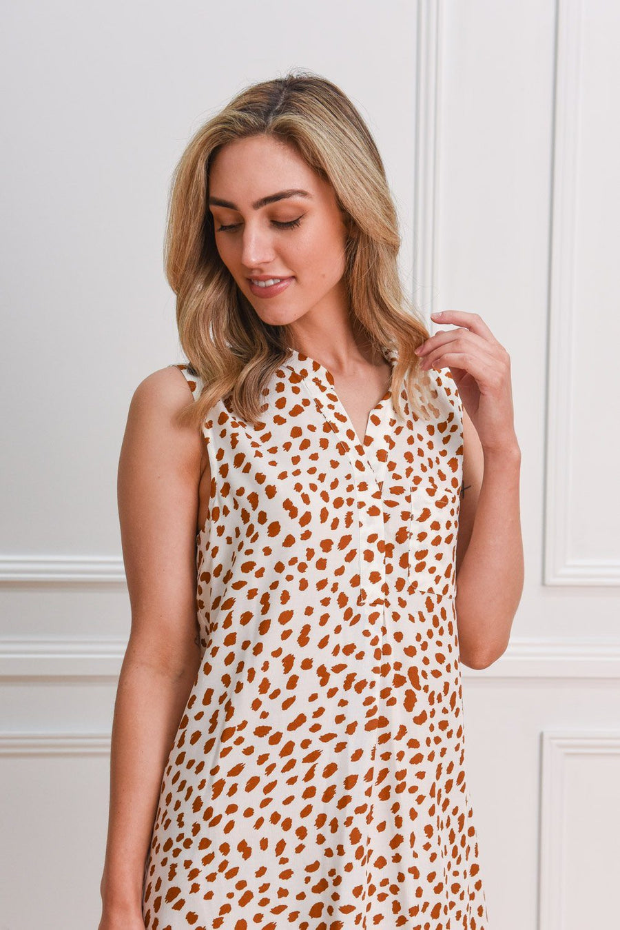 Piper Shirt Dress | White Leopard DRESS Gray Label