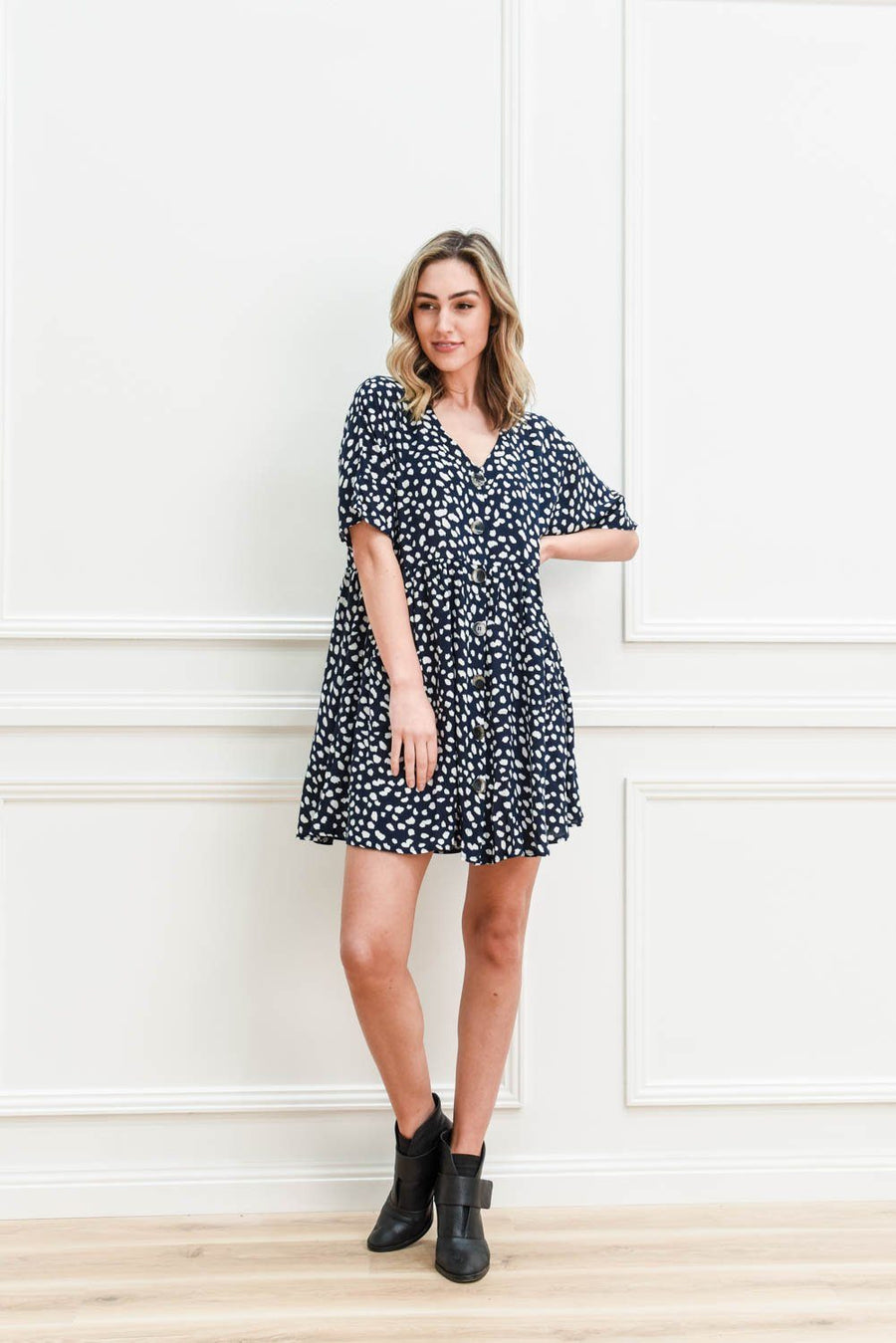 Piper Tunic | Navy Leopard Dress Gray Label