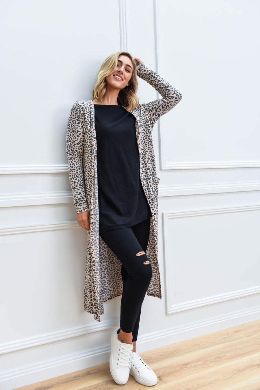Poppy Longline Cardi | Blush Leopard Cardigan Gray Label