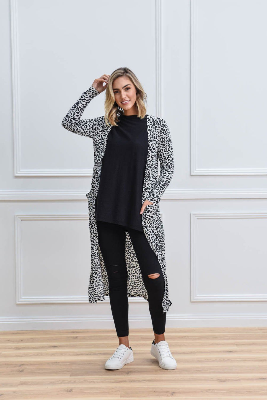 Poppy Longline Cardi | Monochrome Leopard Cardigan Gray Label
