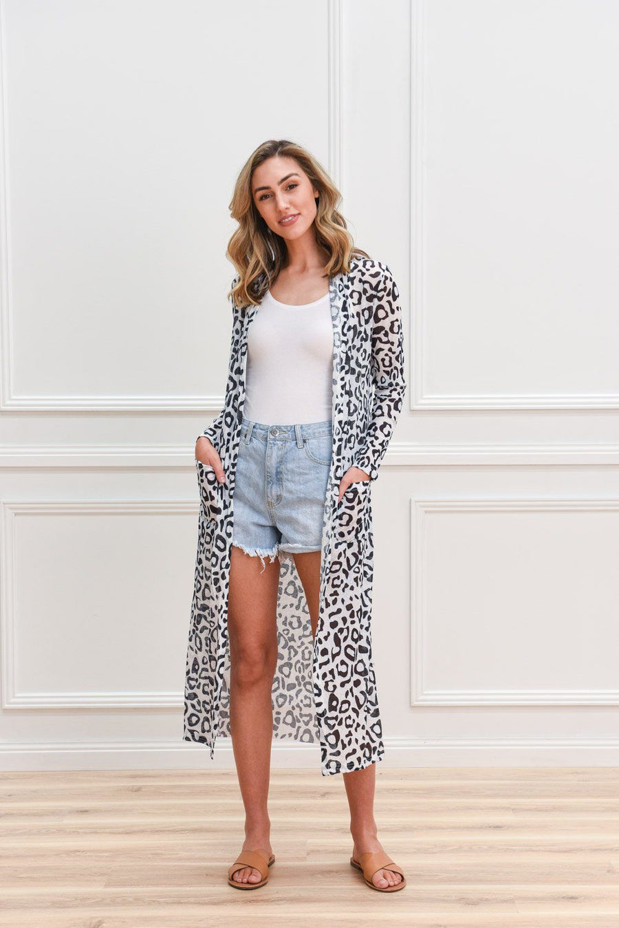Poppy Longline Cardi Summer Version | Monochrome Leopard Cardigan Gray Label