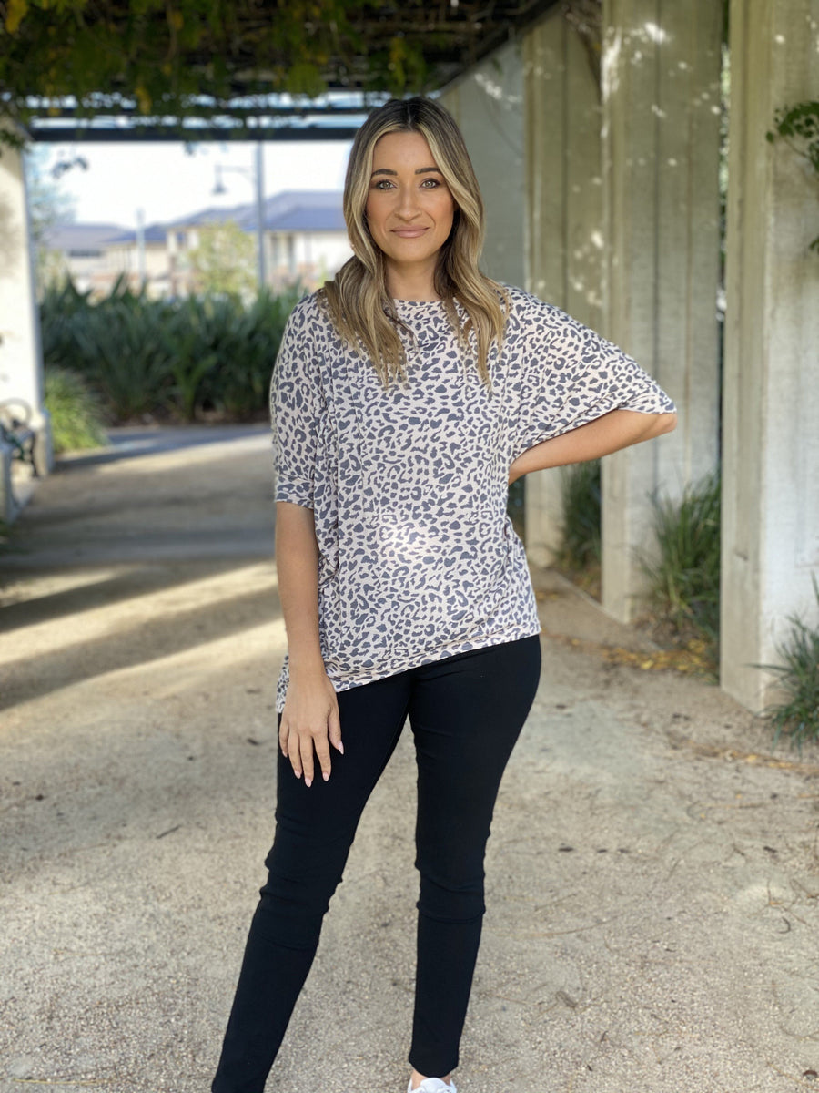 Poppy Top | Blush Leopard Top Gray Label