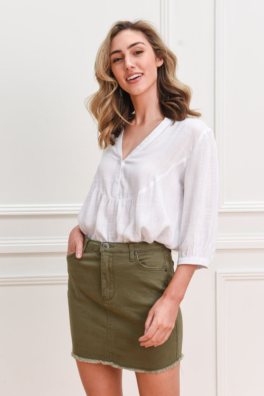 Revi Denimn Skirt | Khaki Skirt Gray.Label