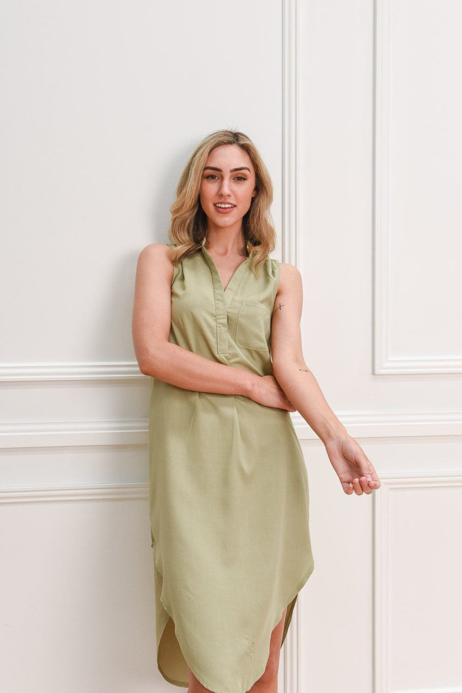 Sadie Shirt Dress | Khaki DRESS Gray.Label