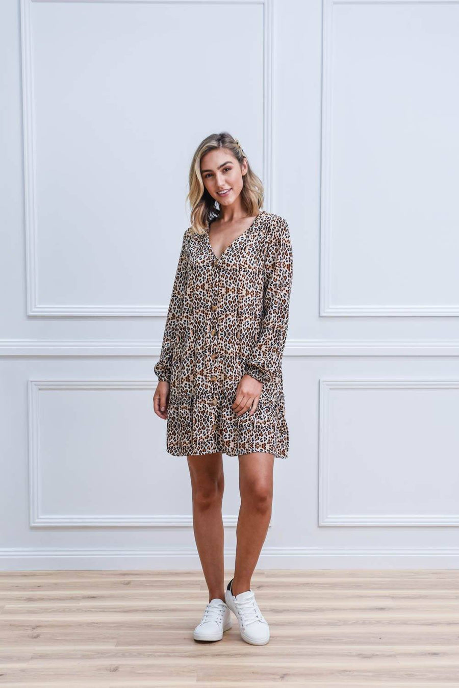 Saffie Dress | Brown Leopard Dress Gray Label