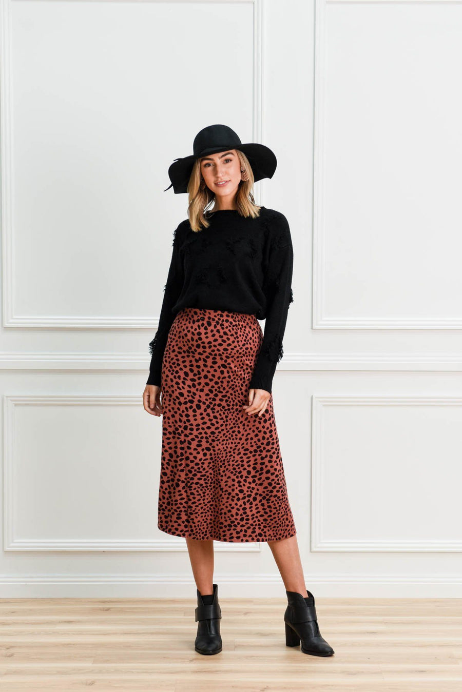 Shelby Knit Skirt | Berry Leopard Skirt Gray.Label