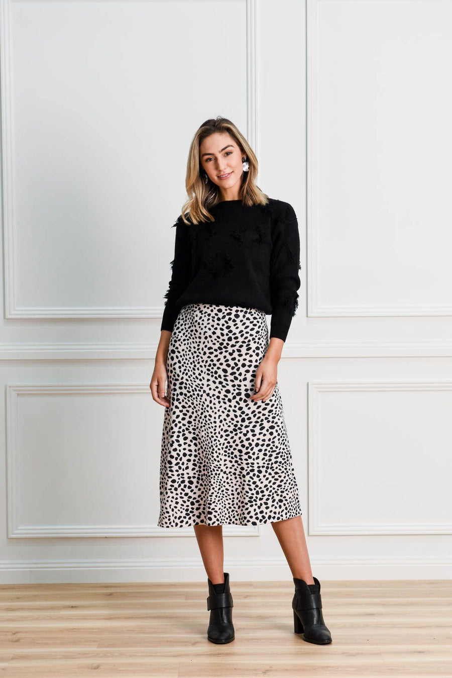 Shelby Knit Skirt | Blush Leopard Skirt Gray.Label