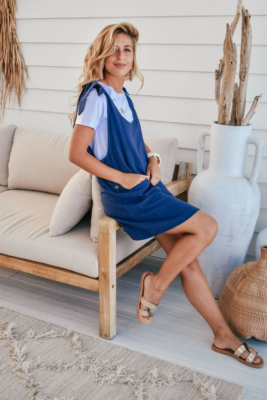 Sienna Linen Pinafore | Navy - Gray Label Dress Gray Label