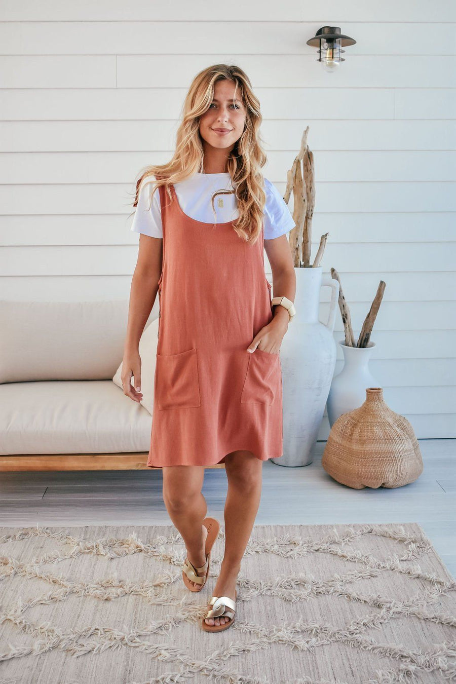Sienna Linen Pinafore | Rust - Gray Label Dress Gray Label