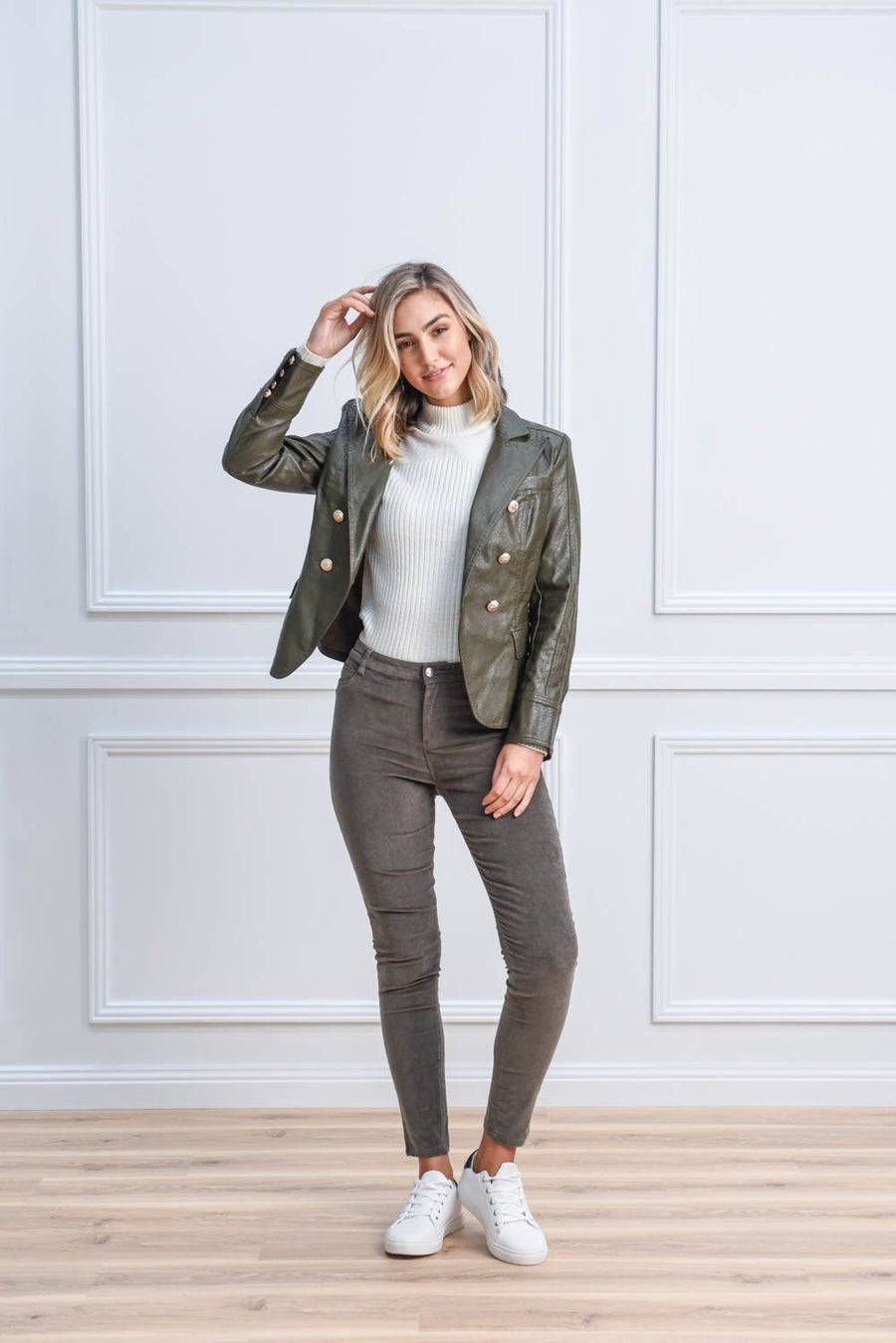 Sofia Blazer | Khaki Jacket Gray Label