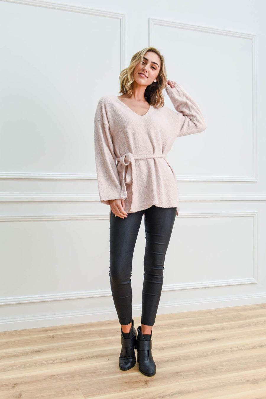 Sophia Slouch Knit | Blush Top Gray Label