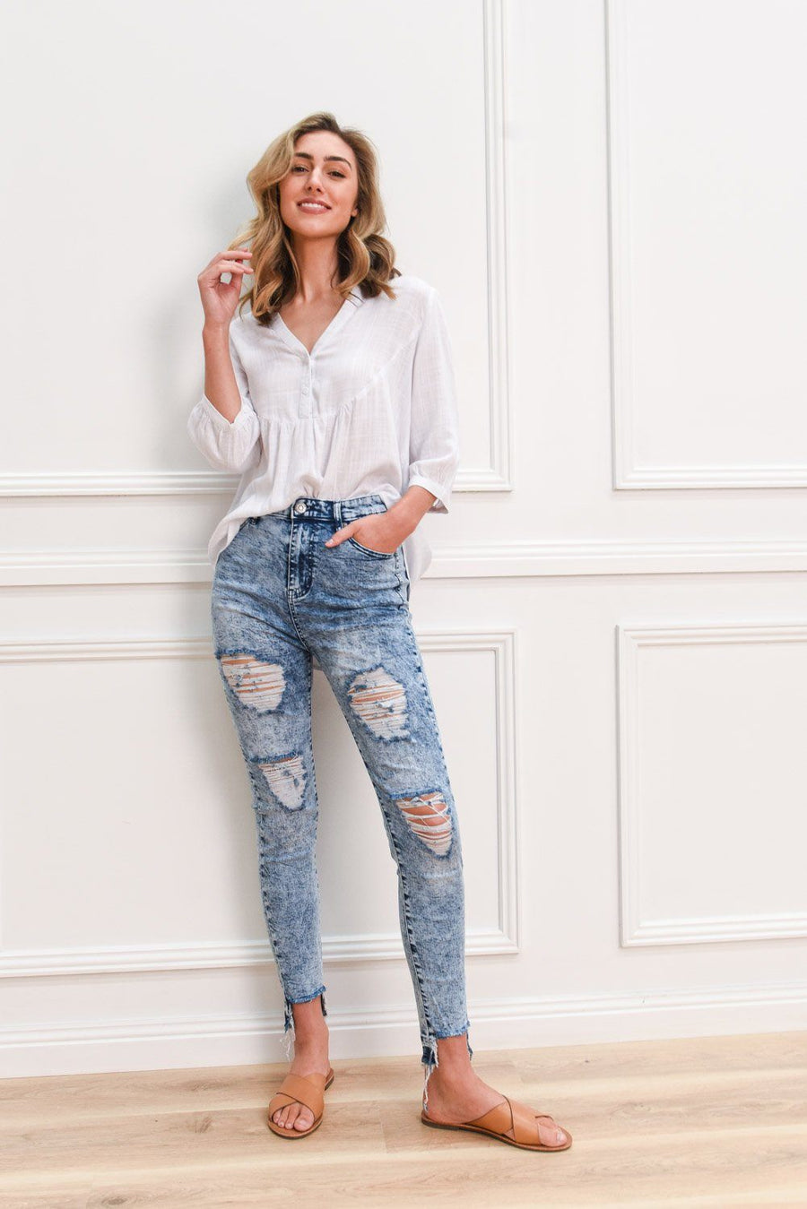 Stella Jeans with Rips | Acid Wash Jeans Gray Label