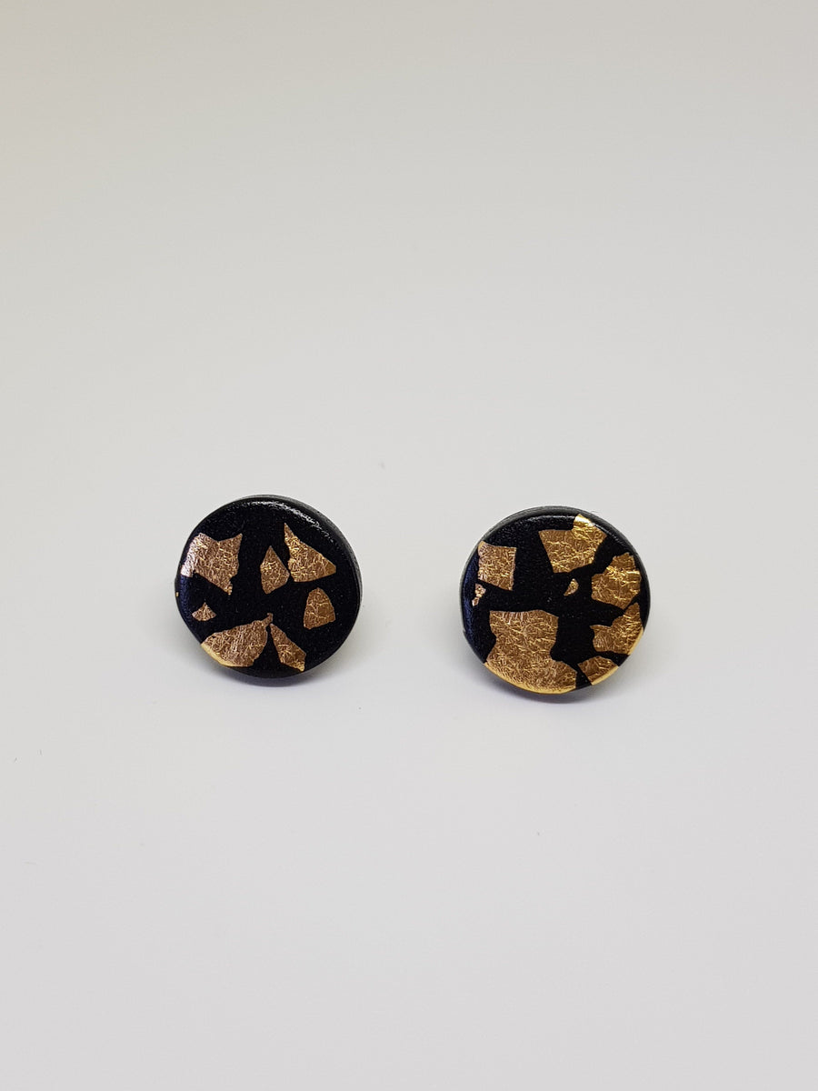 Studs | Black With Gold 15 mm Earrings Linart Designs