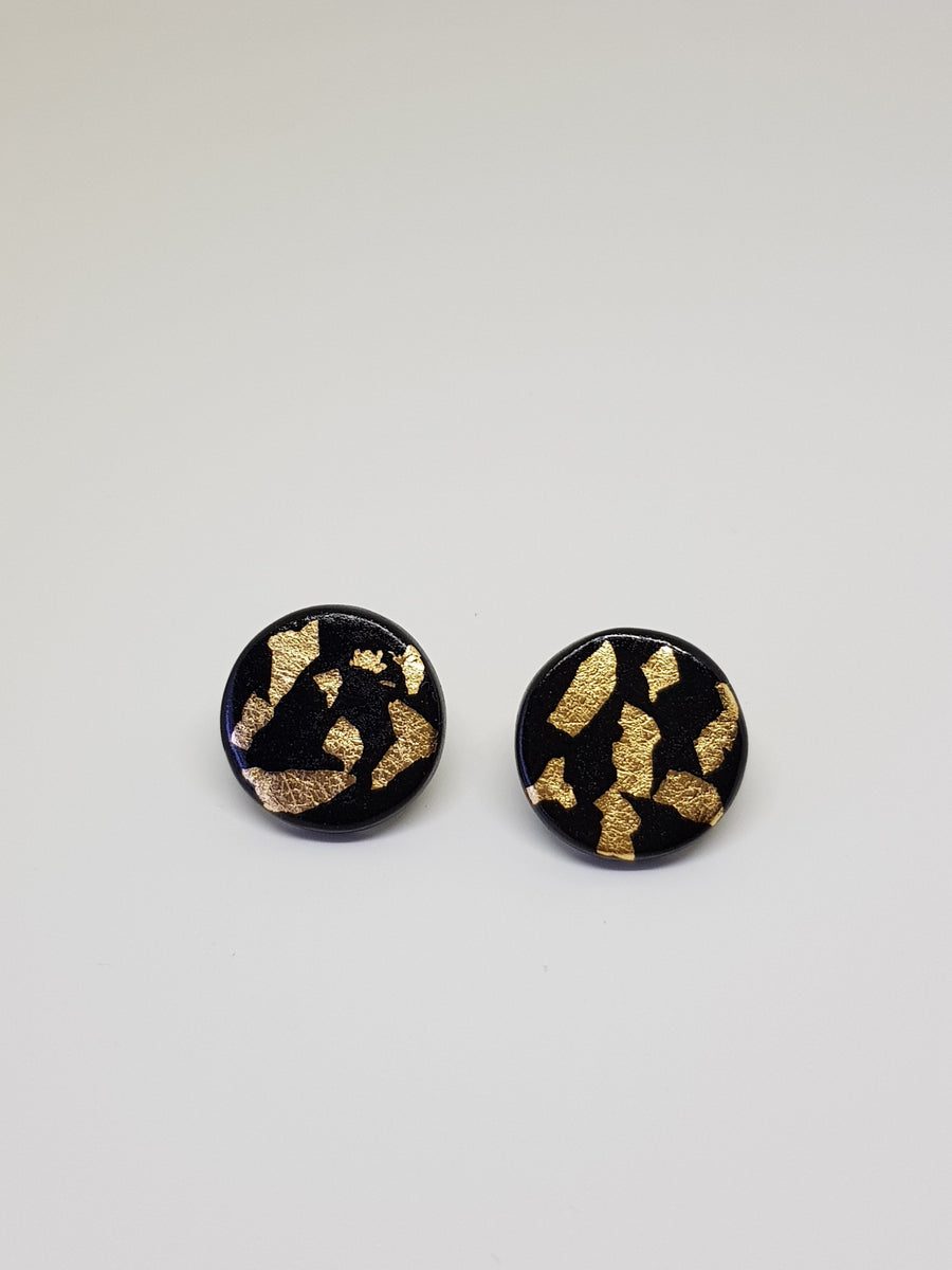 Studs | Black With Gold 21 mm Earrings Gray.Label