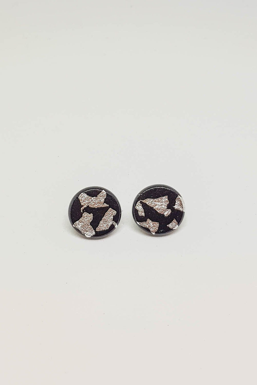 Studs | Black With Silver 15 mm Earrings Gray.Label