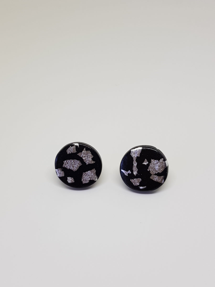 Studs | Black With Silver 15 mm Earrings Linart Designs