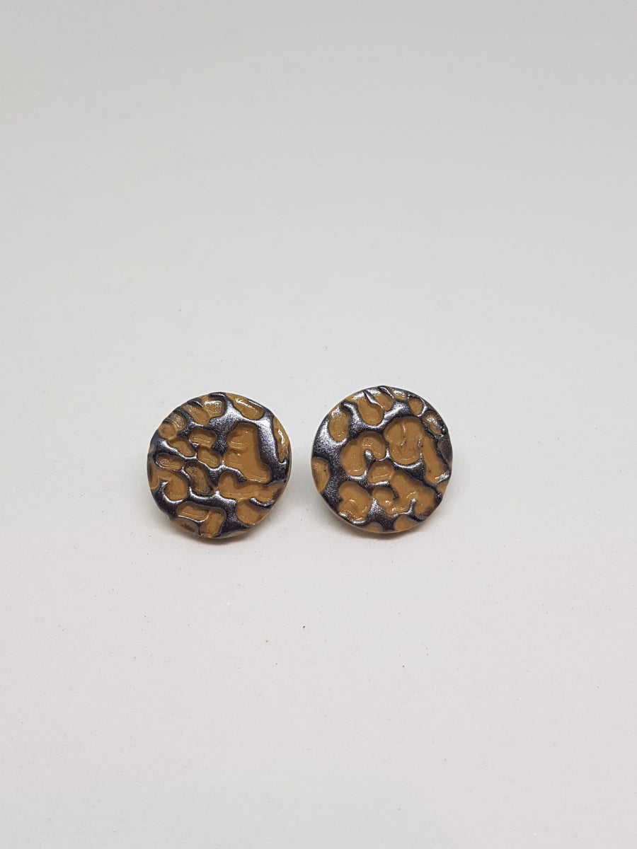 Studs | Cheetah - Latte 21 mm Earrings Gray.Label