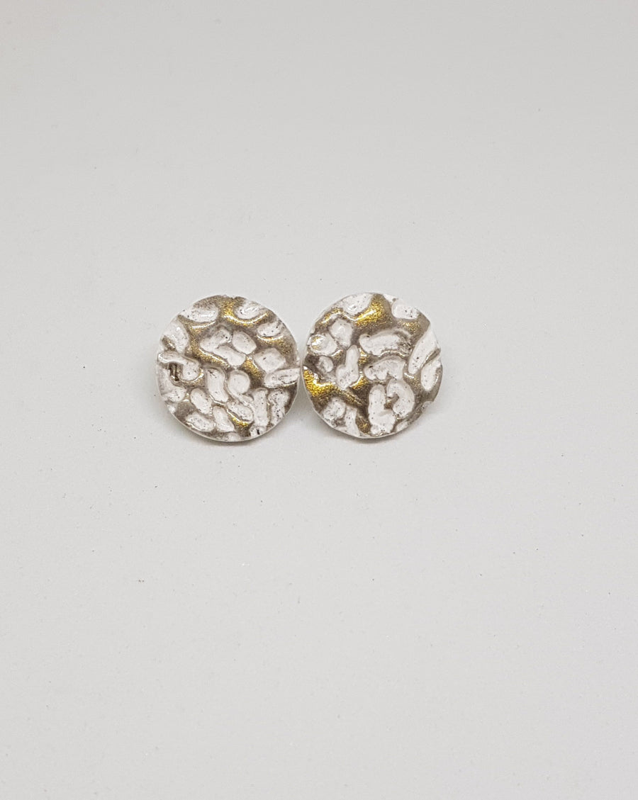 Studs | Cheetah - White 21 mm Earrings Gray.Label