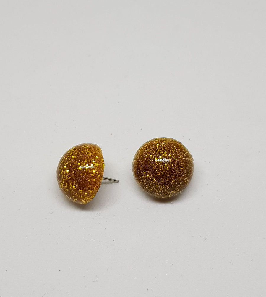 Studs | Glamour Glitter 15 mm Earrings Gray.Label Gold