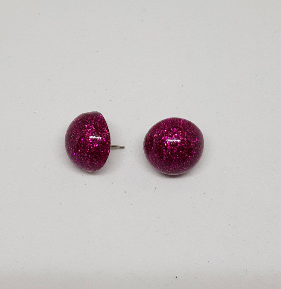 Studs | Glamour Glitter 15 mm Earrings Gray.Label Hot Pink