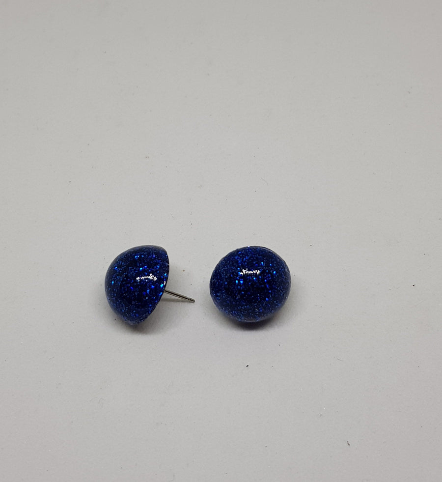 Studs | Glamour Glitter 15 mm Earrings Gray.Label Royal Blue