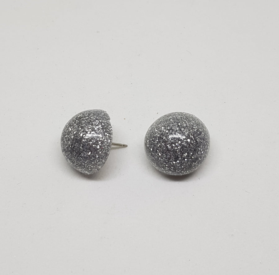 Studs | Glamour Glitter 15 mm Earrings Gray.Label Silver