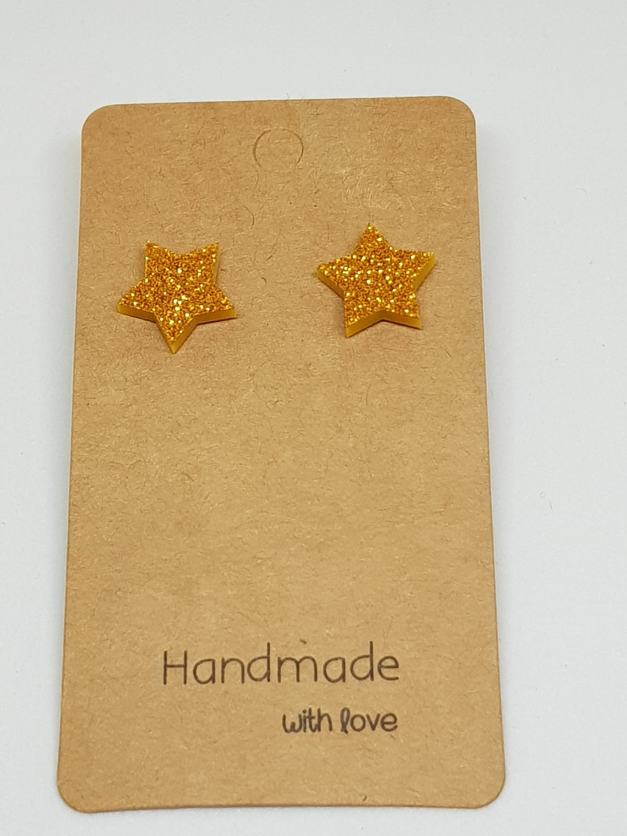 Studs | Gold Glitter Star 15 mm Earrings Gray.Label