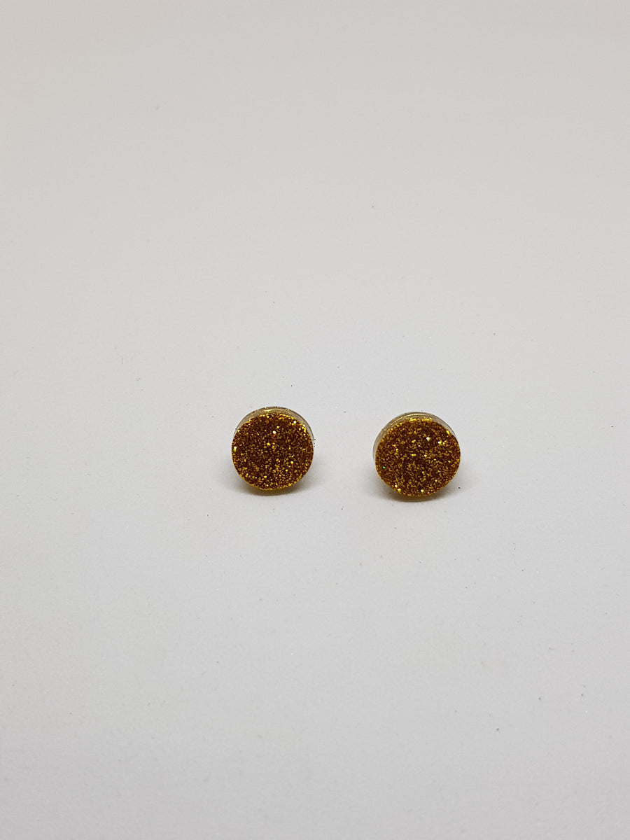 Studs | Gold Glitter Studs 10 mm Earrings Linart Designs