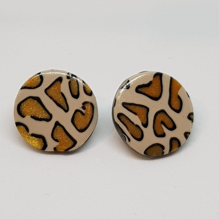 Studs | Gold Leopard 21 mm Earrings Gray.Label
