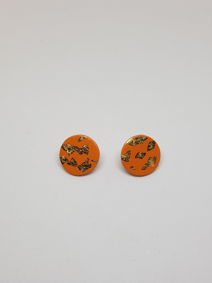 Studs | Orange Rust with Gold 20 mm Earrings Linart Designs