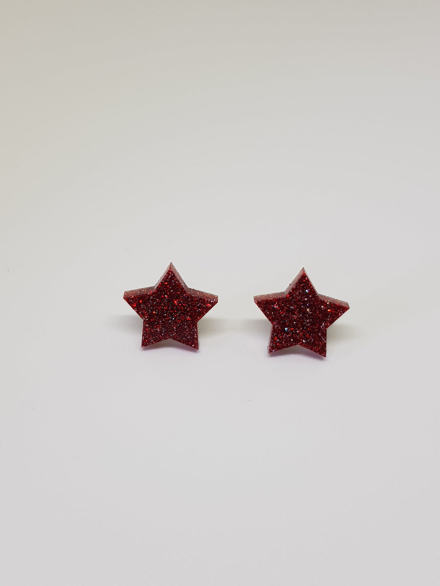 Studs | Red Glitter Stars 15 mm Earrings Linart Designs