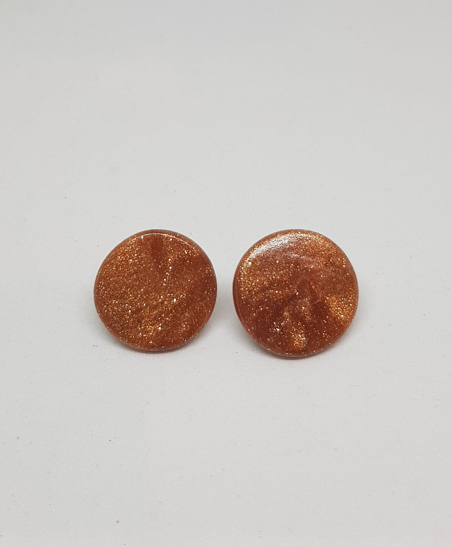 Studs | Rose Gold Glitter 21 mm Earrings Gray.Label