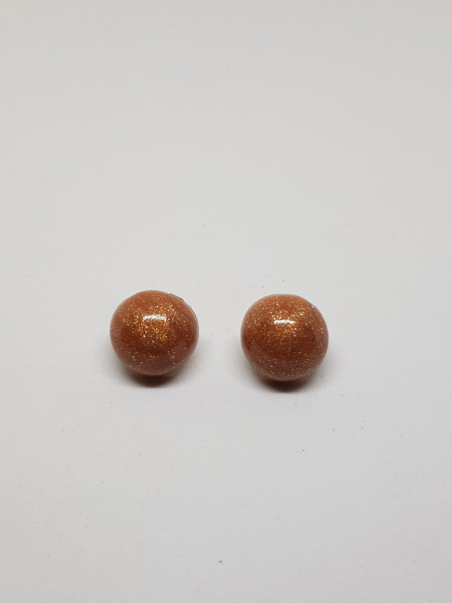 Studs | Rose Gold Glitter Ball Studs 18 mm Earrings Linart Designs