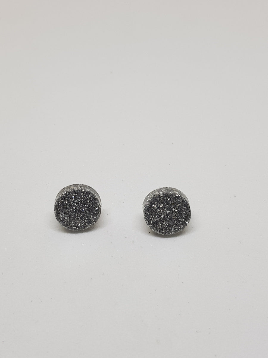 Studs | Silver Glitter Studs 12 mm Earrings Linart Designs