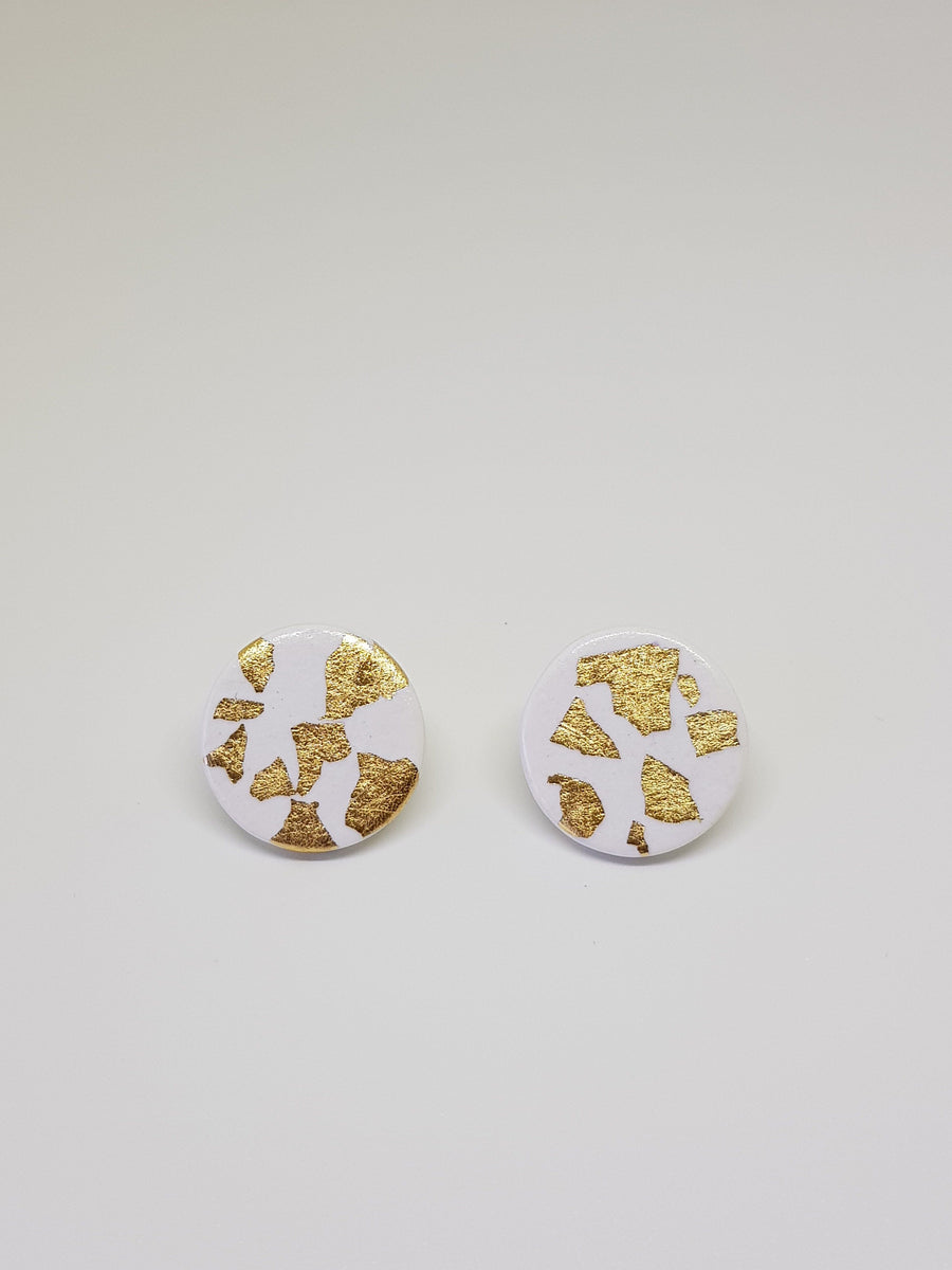 Studs | White With Gold 15 mm Earrings Gray.Label