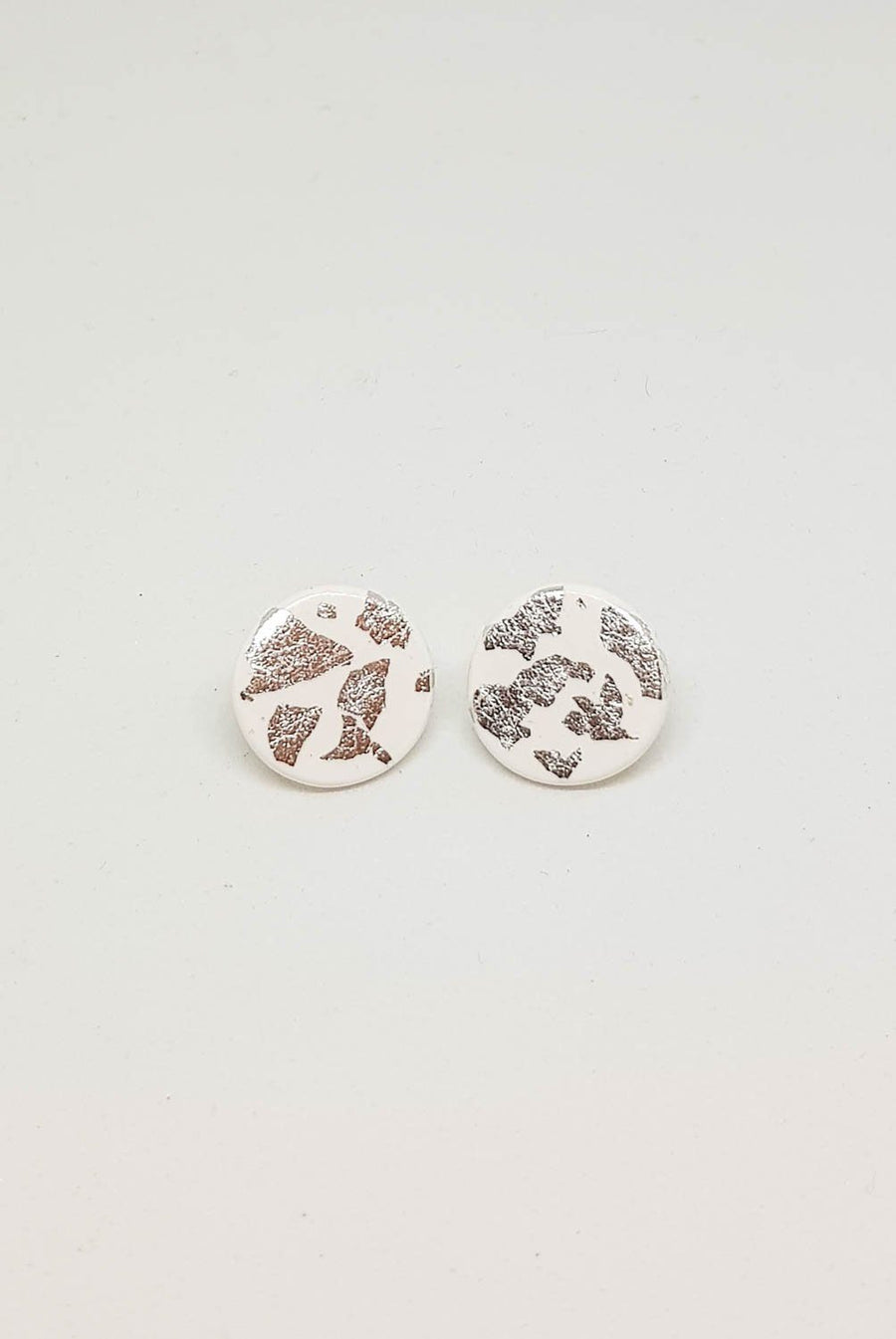 Studs | White With Silver 15 mm Earrings Gray.Label