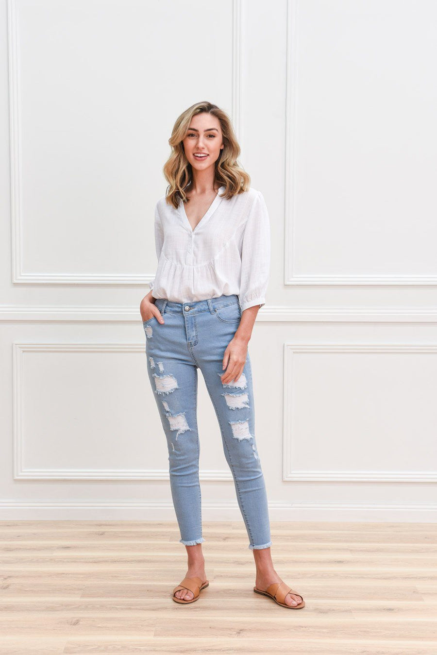 Tammy Ripped Jeans Jeans Gray Label